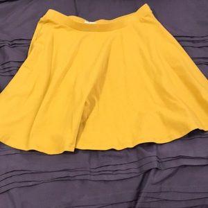 Mustard yellow forever 21 skater skirt